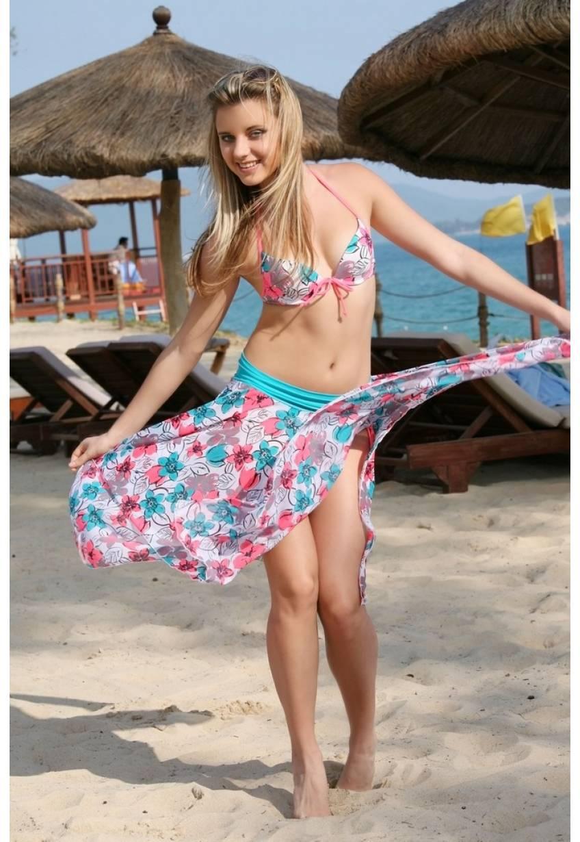 Пляжная юбка N127 цветочные расцветки